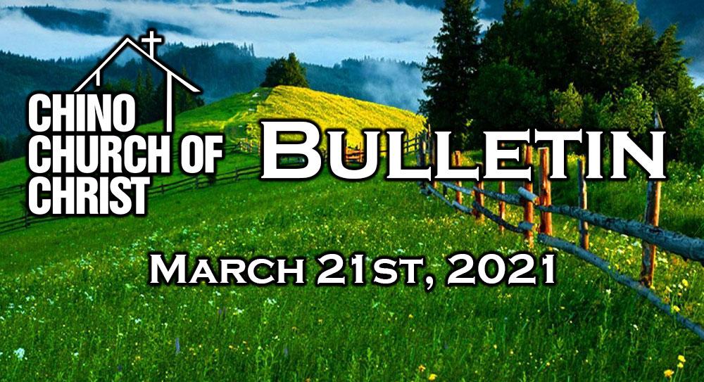 Bulletin – March 21st, 2021