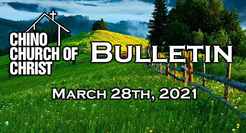Bulletin – March 28th, 2021
