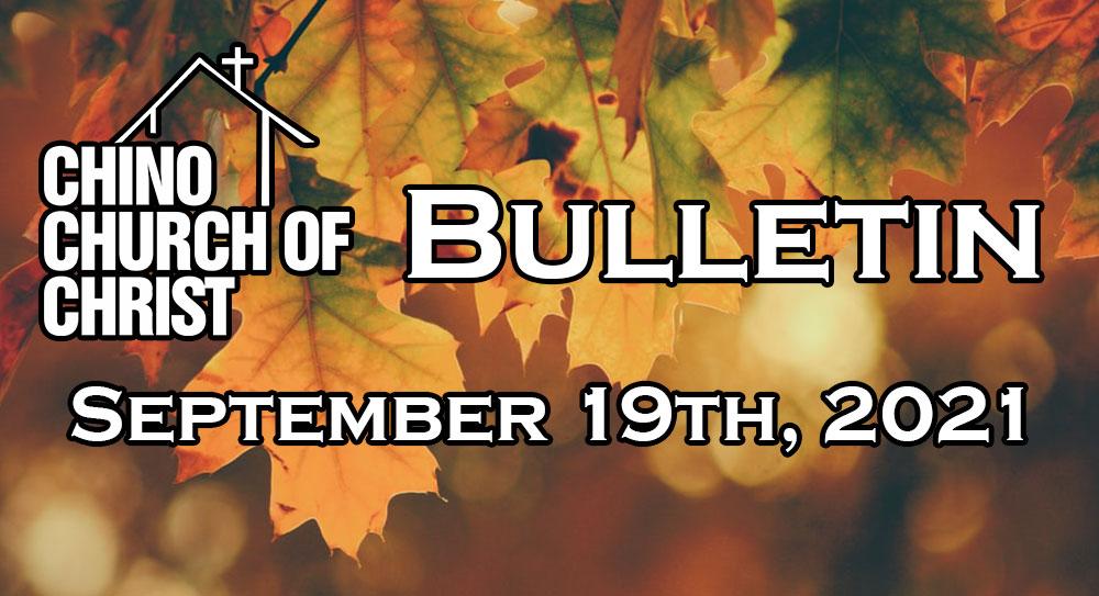 Bulletin – September 19th, 2021